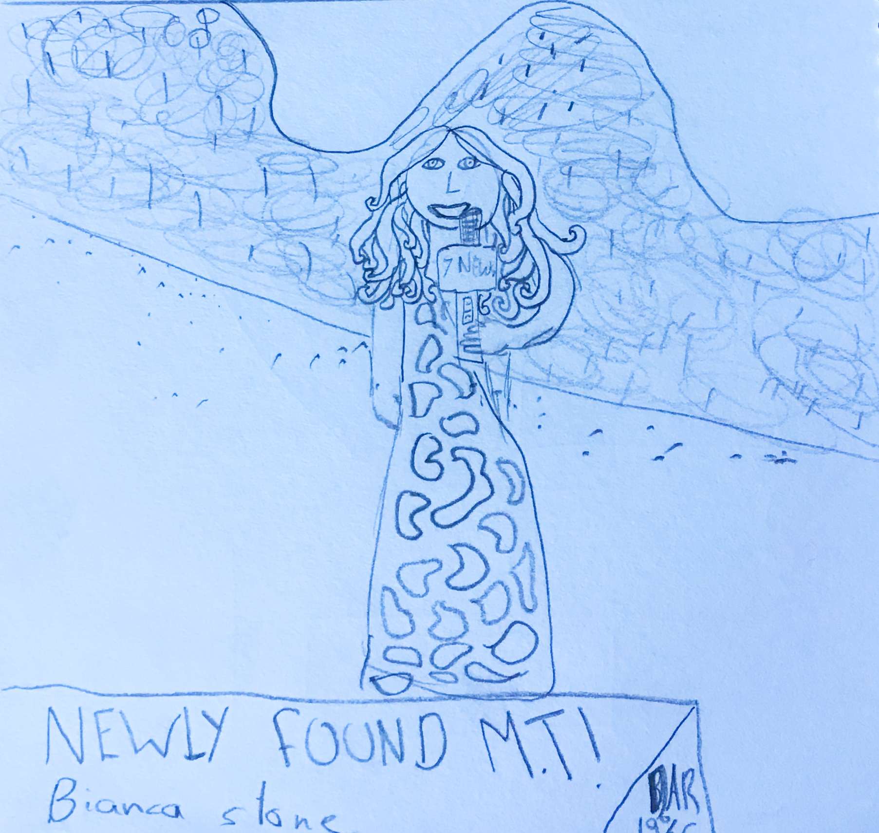 A drawing created by an Art Club member of a newsreader on TV.