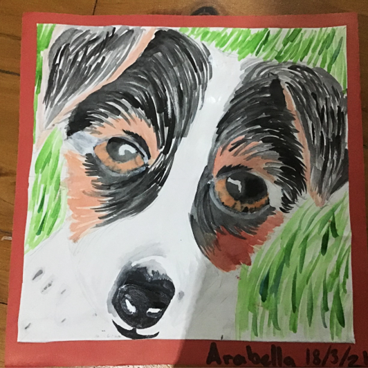 watercolour painting of a dog's face