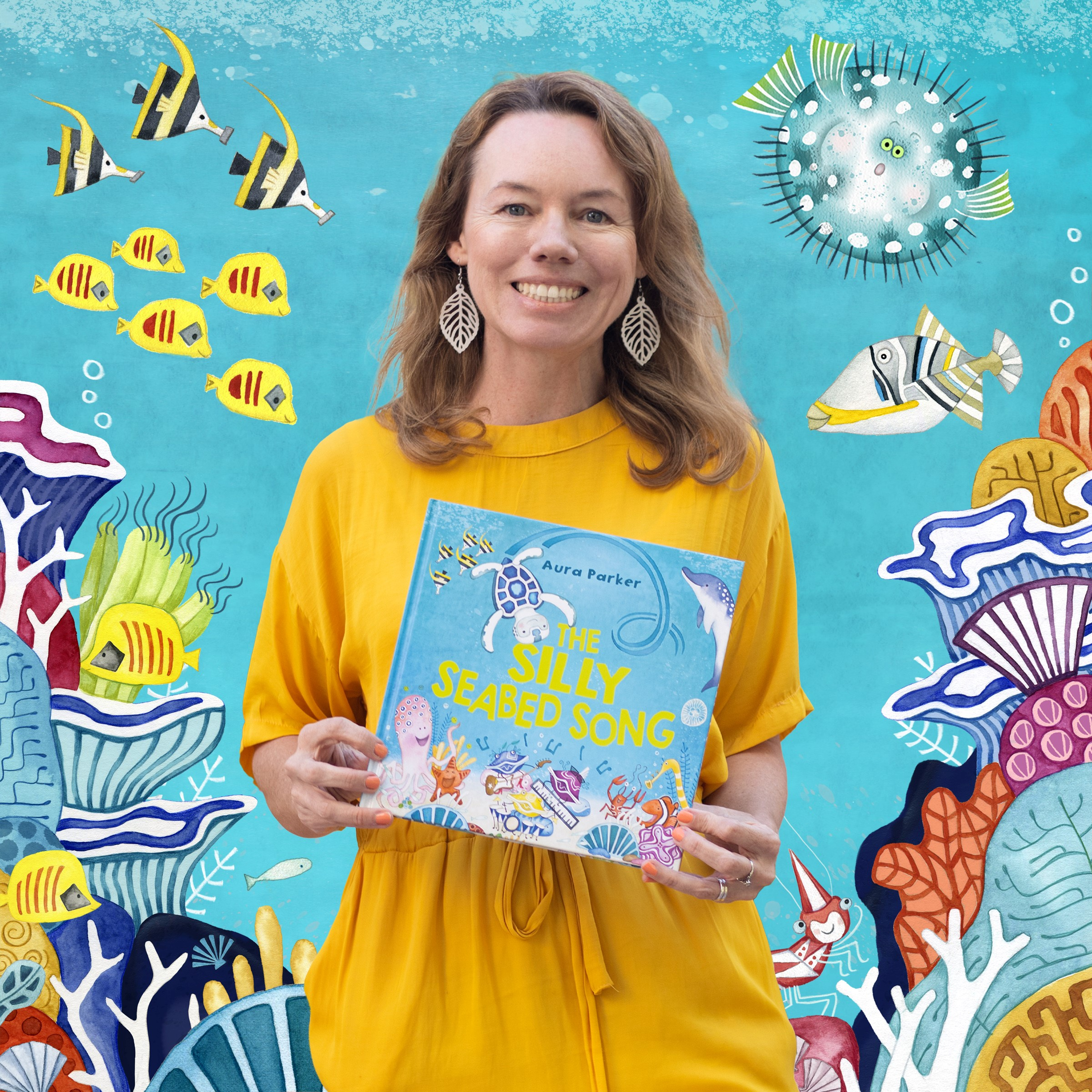 Author Aura Parker holding her picture book The Silly Seabed Song