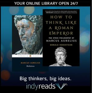 book cover on blue background with indyreads logo