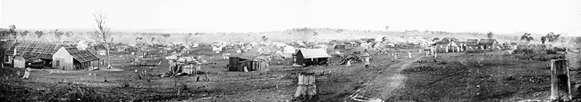 Panoramic view of Gulgong from Church Hill 1870s