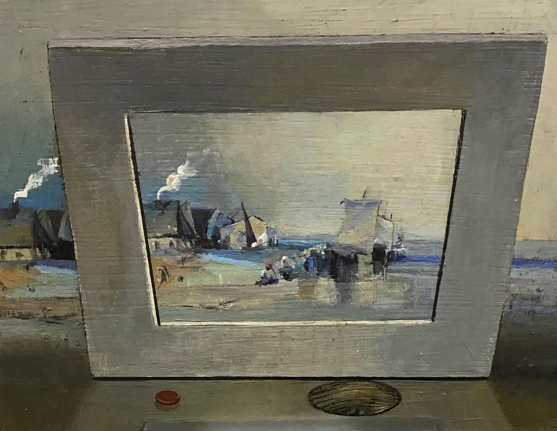 Hadyn Wilson painting in response toScene on the coast of France attributed to Richard Parkes Bonington,1813-1828