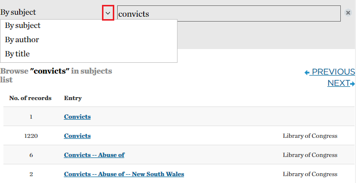 Click the drop-down arrow to select from browse by subject, browse by title or browse by author.