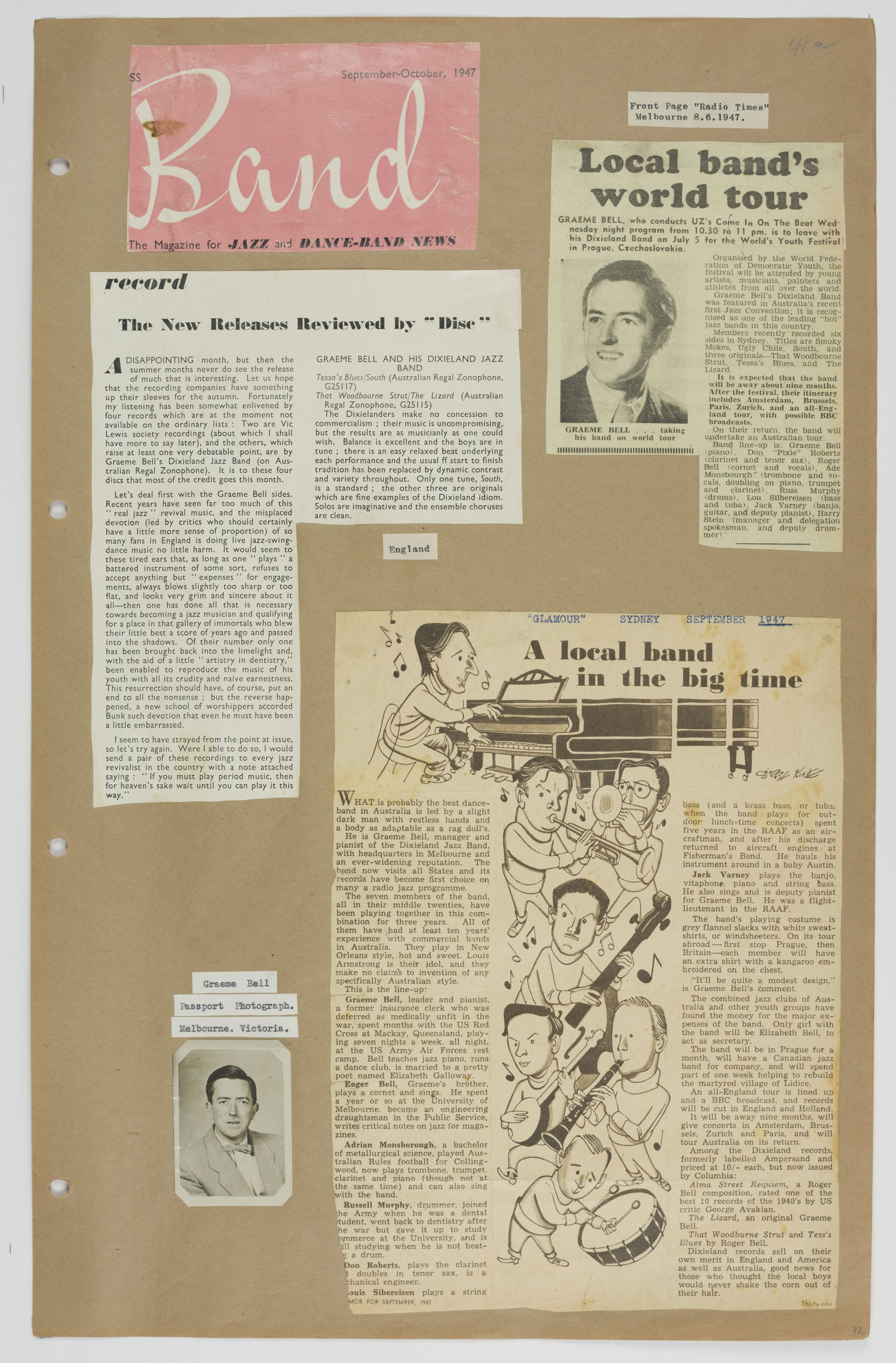 A page from Volume 1 of the Graeme Bell scrapbook collection.