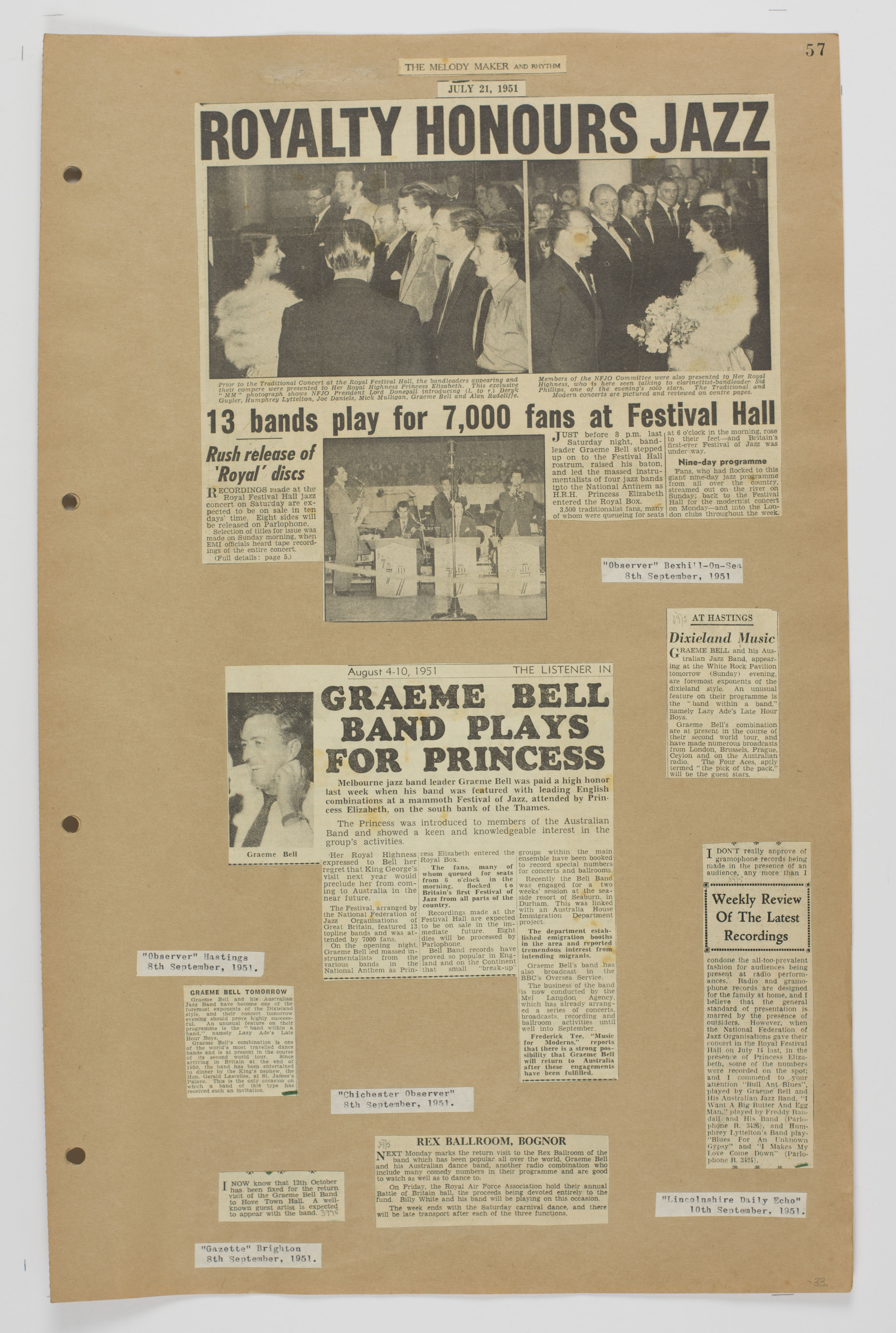 A page from Volume 2 of the Graeme Bell scrapbook collection.