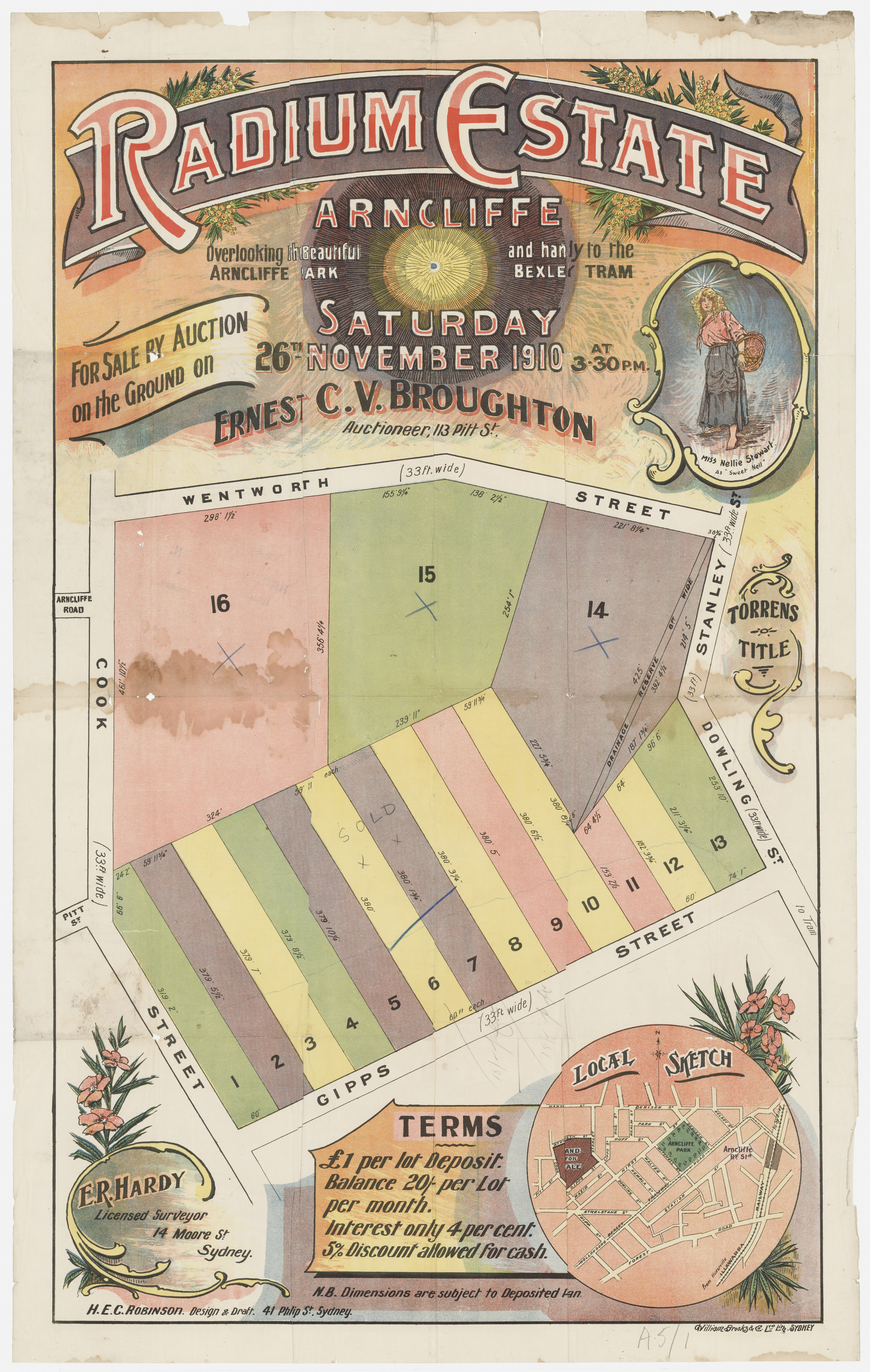 Subdivision Plan: 001 - Z/SP/A5/1 - Radium Estate Arncliffe - Gipps St, 1910
