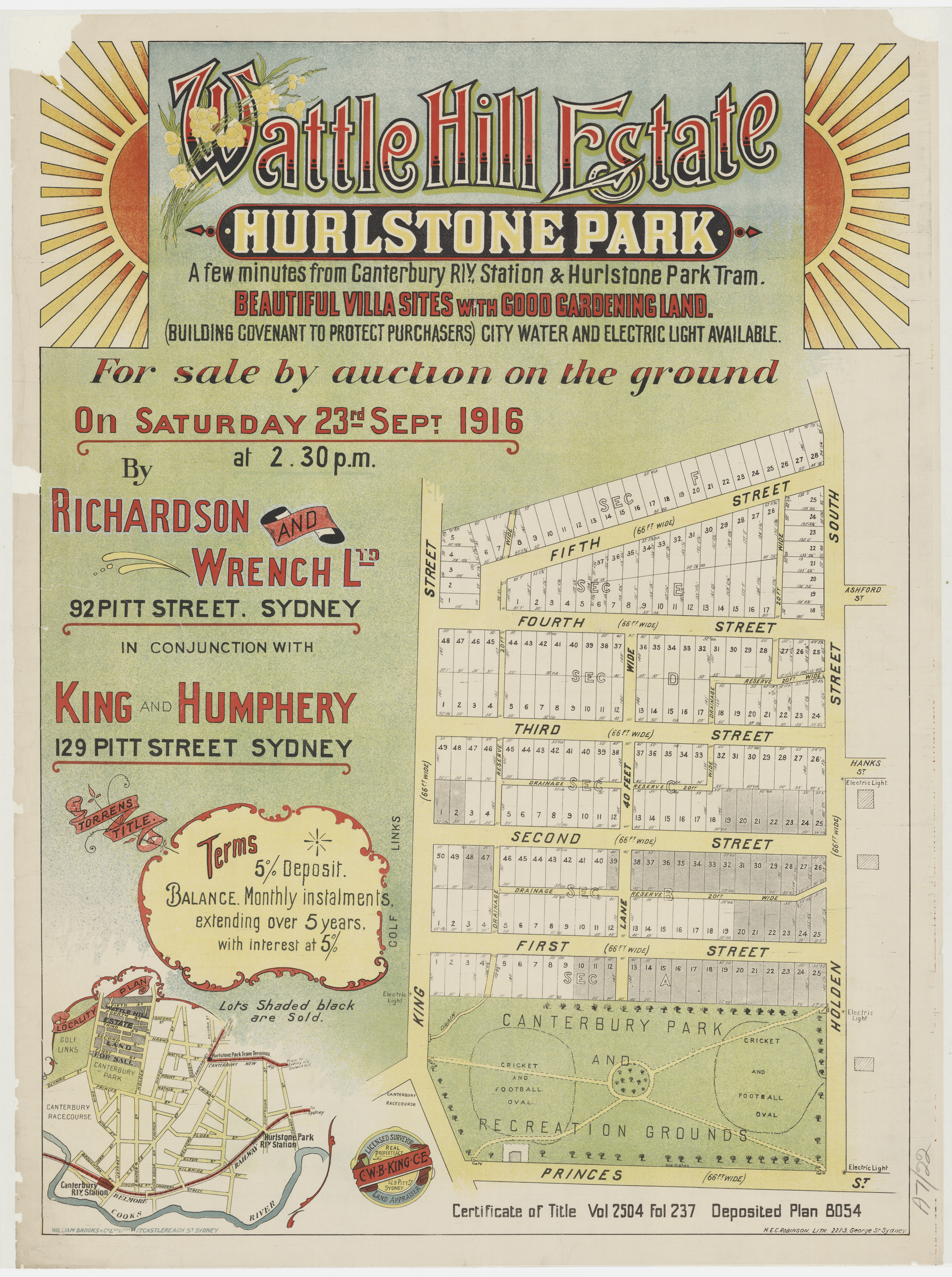 Subdivision Plan: 022 - Z/SP/A7/22 - Wattle Hill Estate Hurlstone Park  - First St, Second St, Third St, Fourth St, Fifth St, 1916