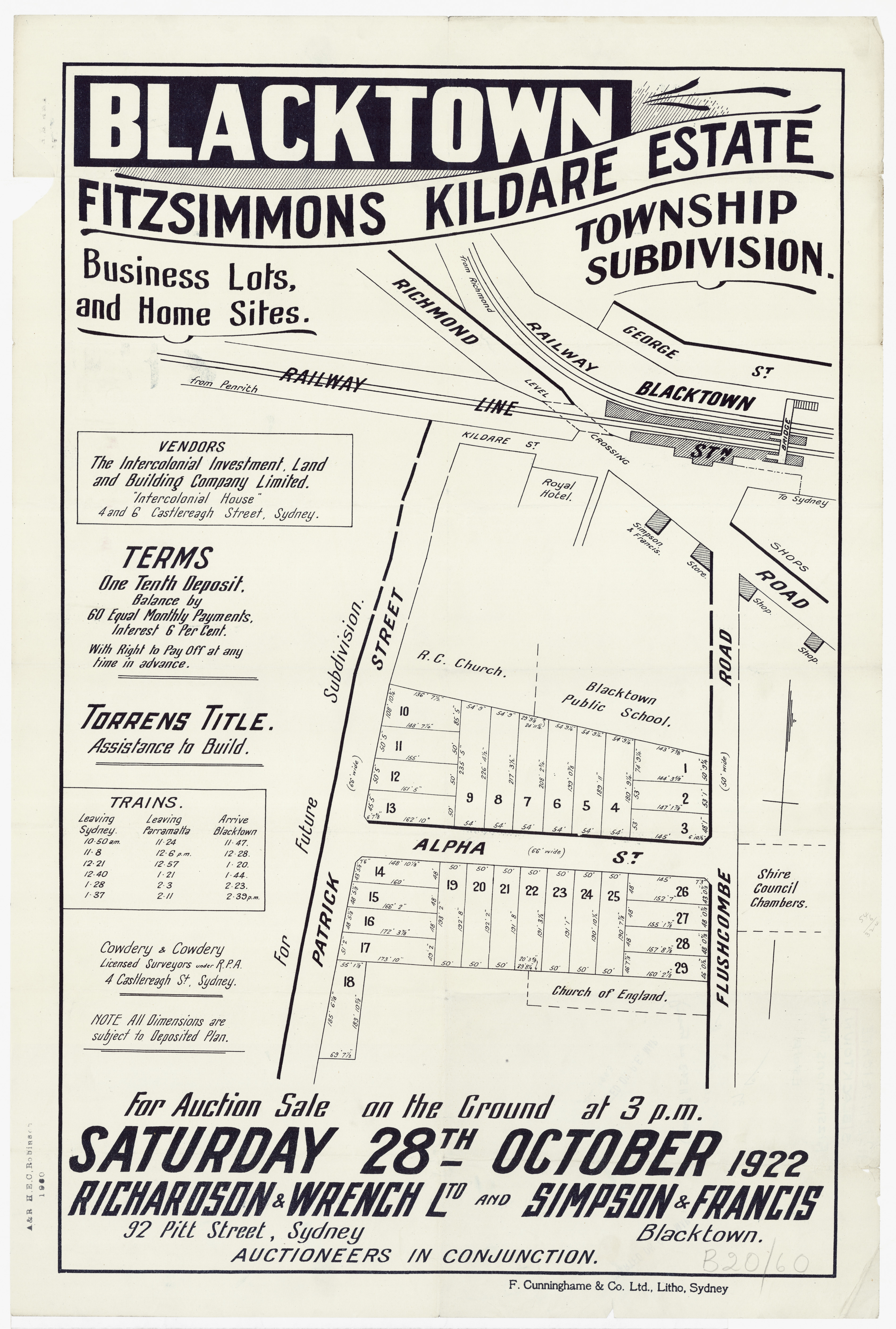 Subdivision Plan: 074 - Z/SP/B20/60 - Blacktown Fitzsimmons Kildare Estate Township subdivision - Patrick St, Flushcombe Rd , 1922