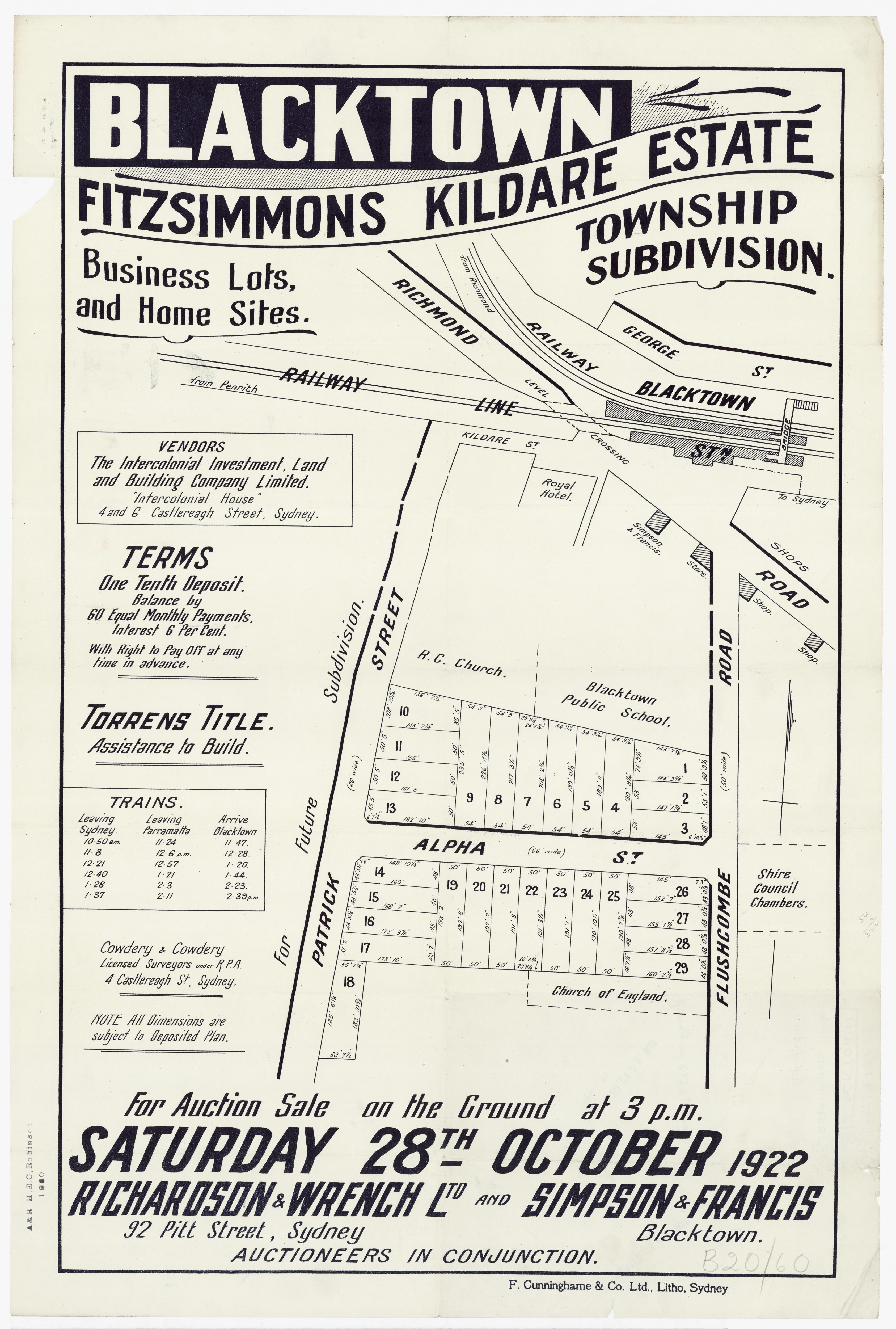Subdivision Plan: 074 - Z/SP/B20/60 - Blacktown Fitzsimmons Kildare Estate Township subdivision - Patrick St, Flushcombe Rd , 1922