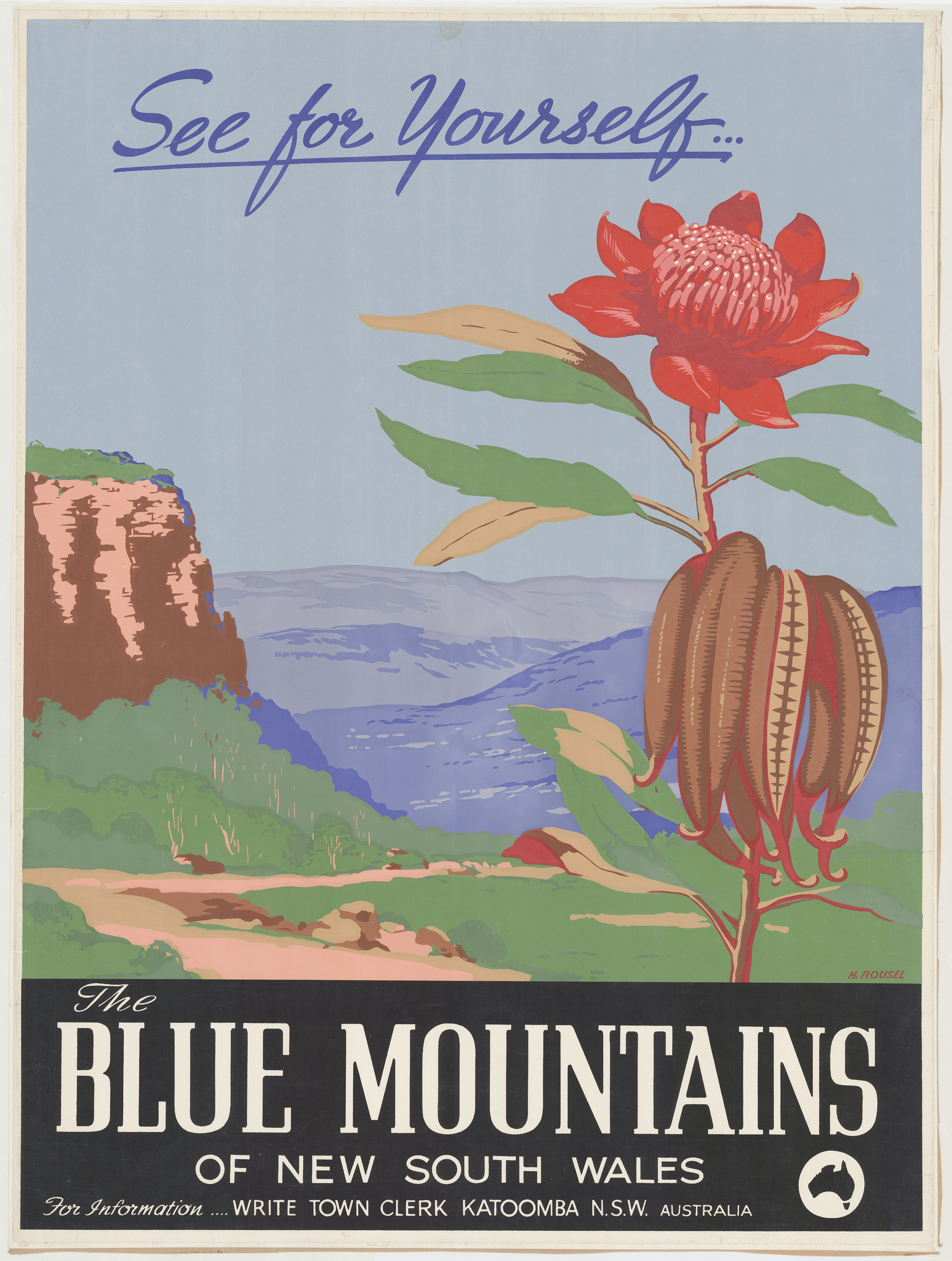A poster promotion the Blue Mountains showing a graphic of a waratah in front of a landscape showing a cliff face and bushland in the distance.