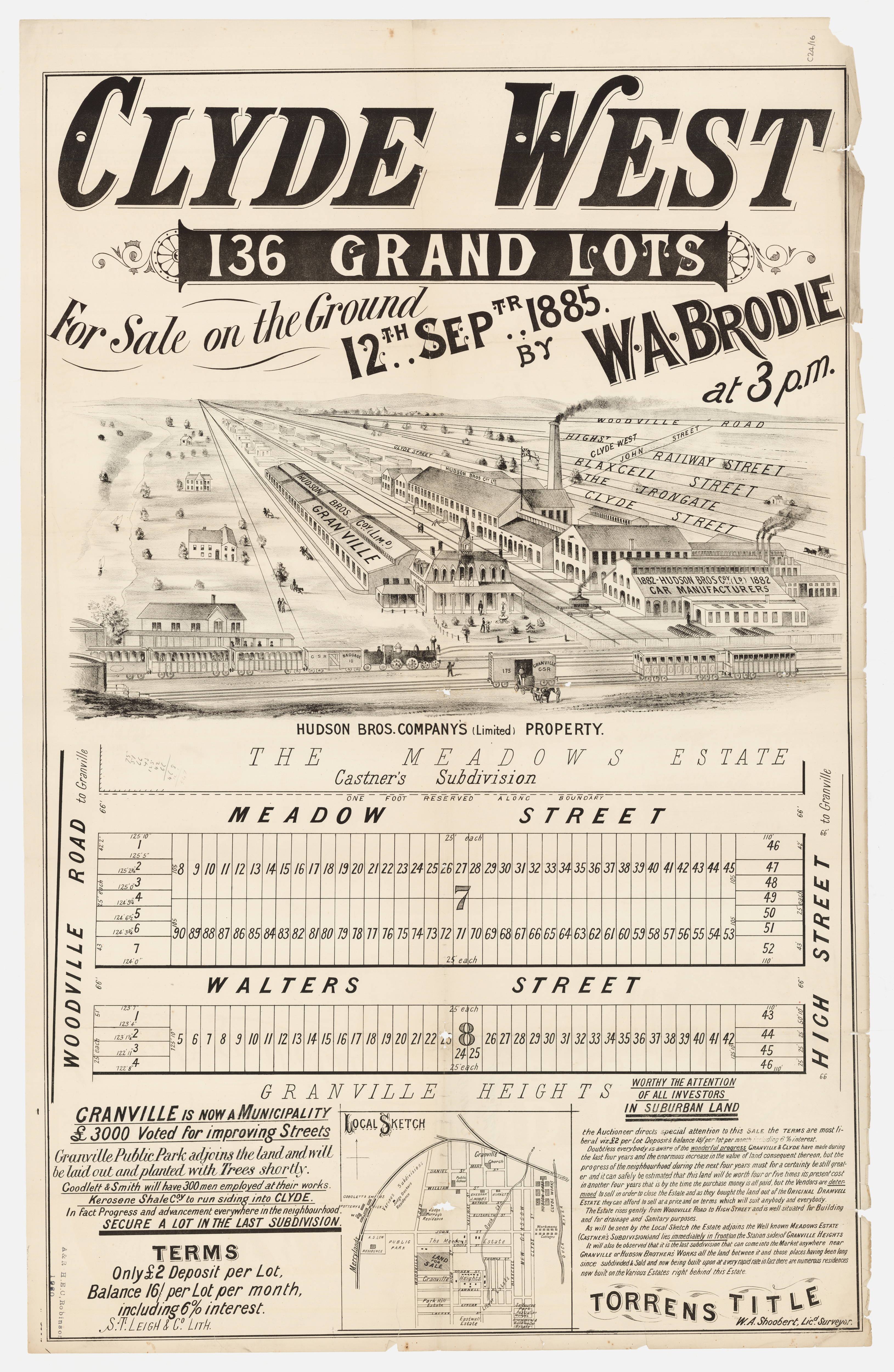 Subdivision Plan: 016 - SP/C24/16 - Clyde West 136 Grand Lots - Woodville Rd, Walters St, High St, Meadow St, 1885