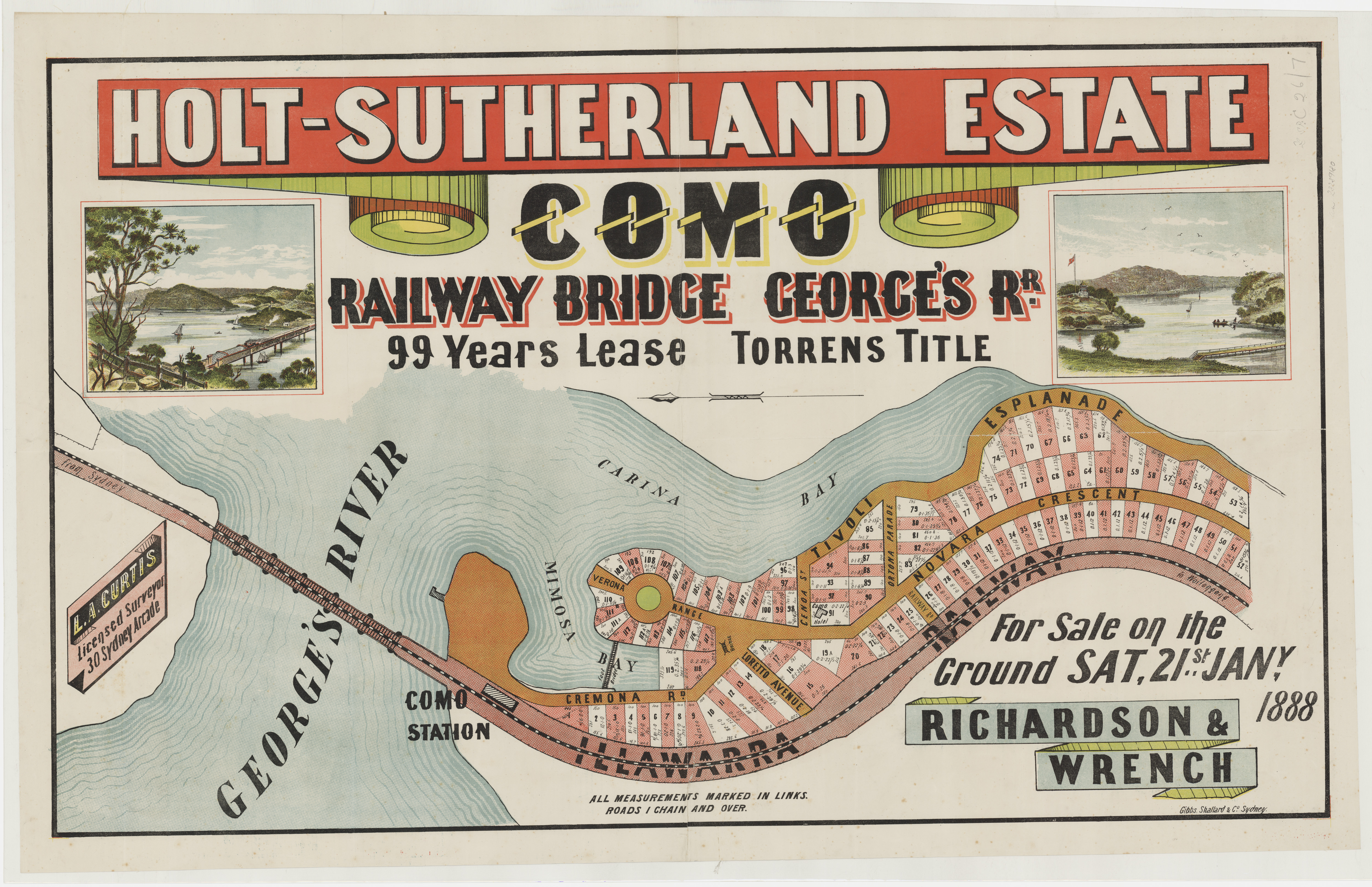 Subdivision Plan: 007 - Z/SP/C26/7 - Holt-Suterland Estate Como Railway Bridge George's Road - Tivoli Esplanade, Cremona Rd, Novara Crescent, 1887