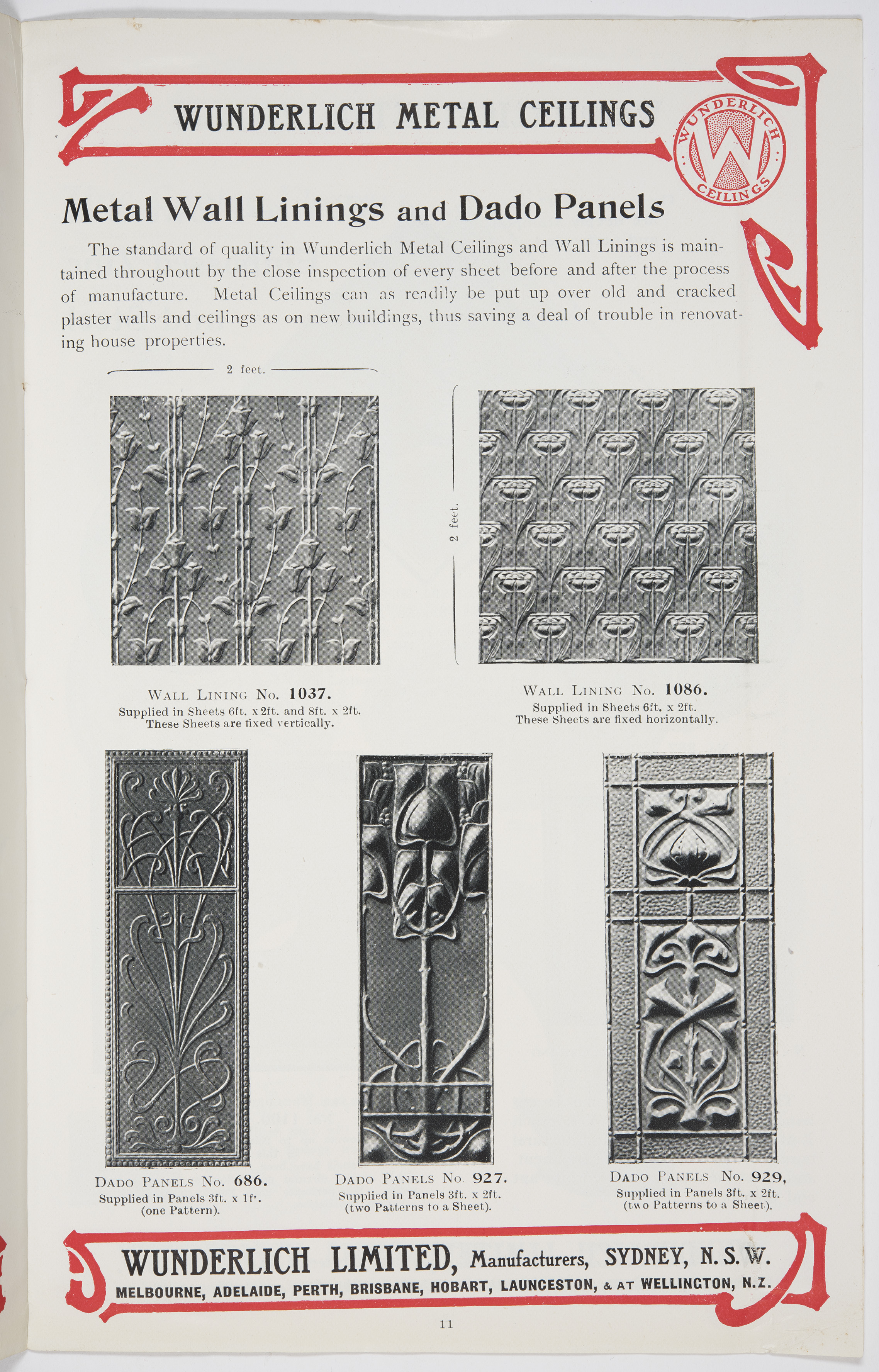 A page from a Wunderlich Limited catalogue showing different wall panel waratah motifs.