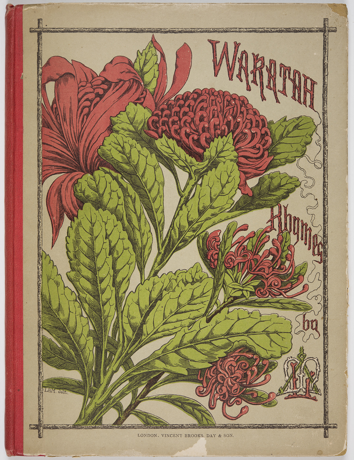 The cover of a worn, brown book called 'Waratah Rhymes' with illustration of waratah and red binding.