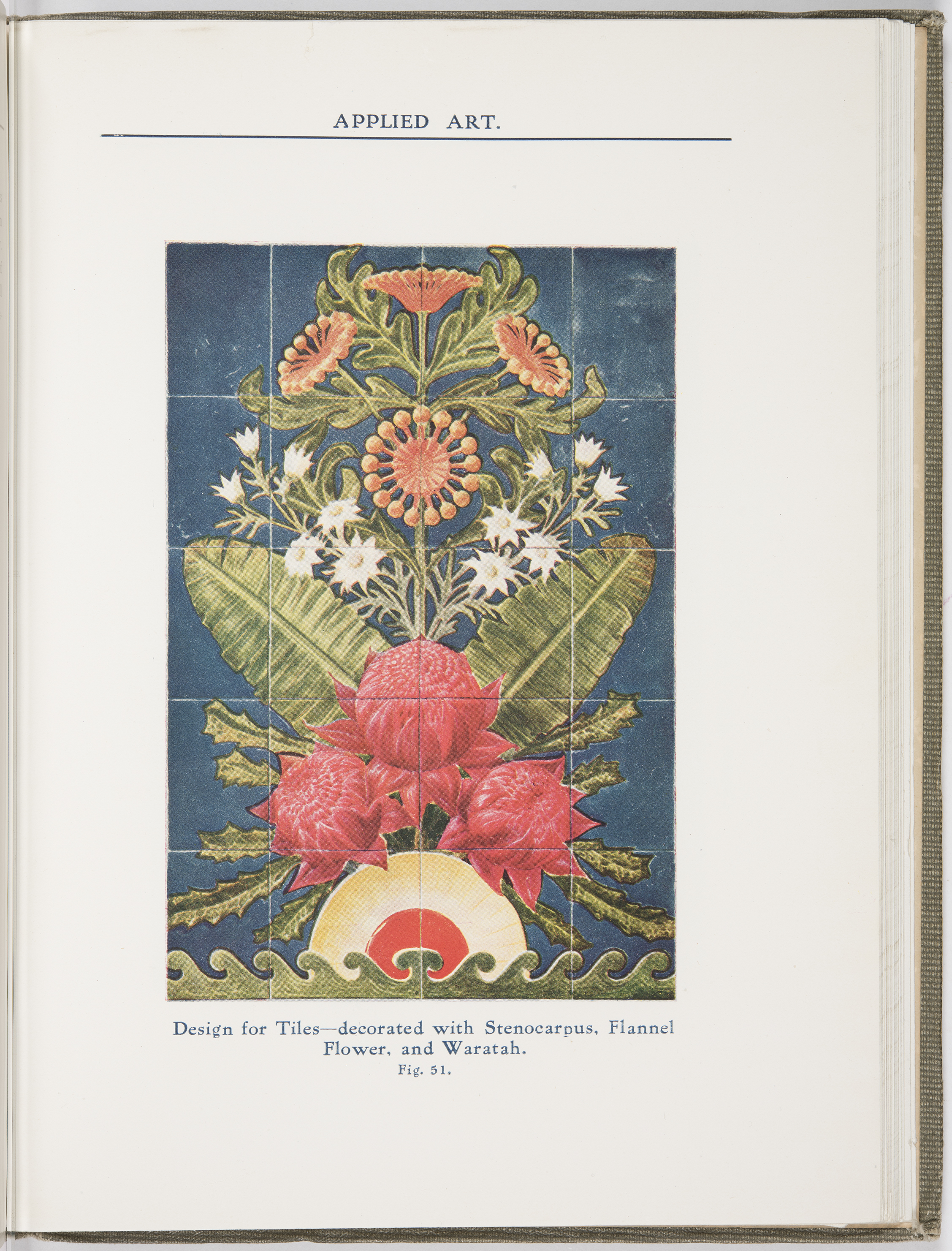 A page from a book - header 'Applied Arts' featuring an illustration of a bouquet of flowers featuring waratahs - the caption states: 'Design for Tiles'