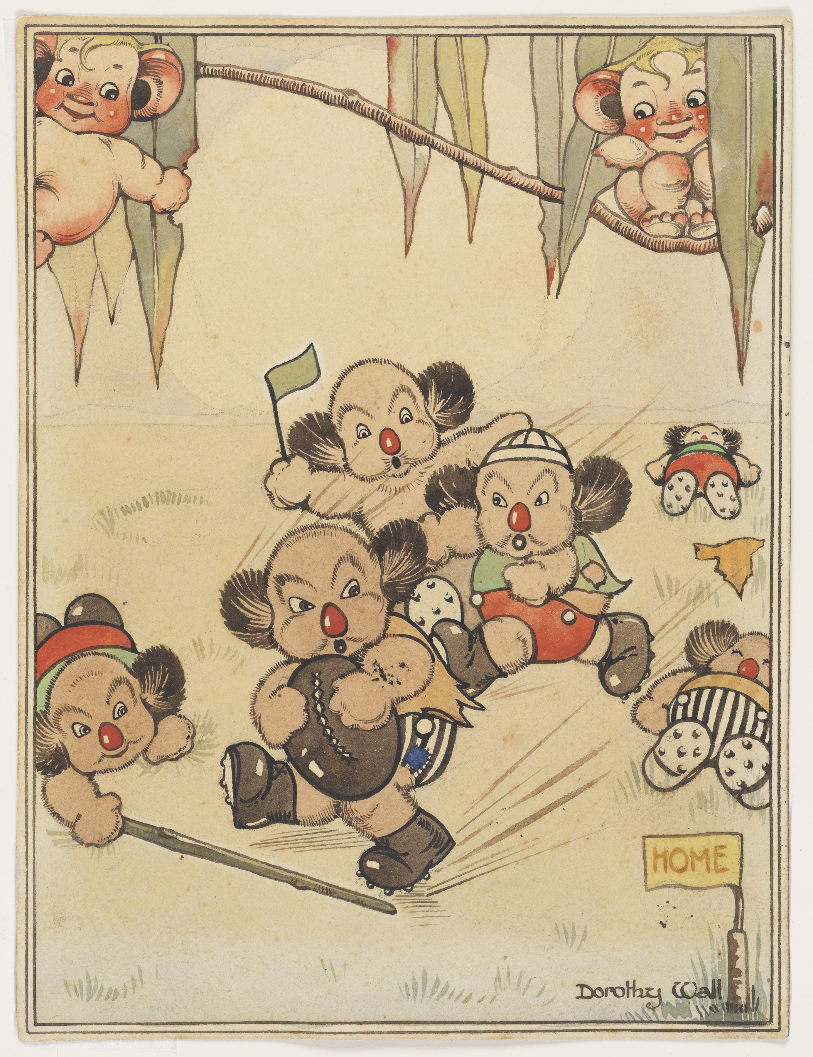 A cartoon style image of Koala's playing a game of football.