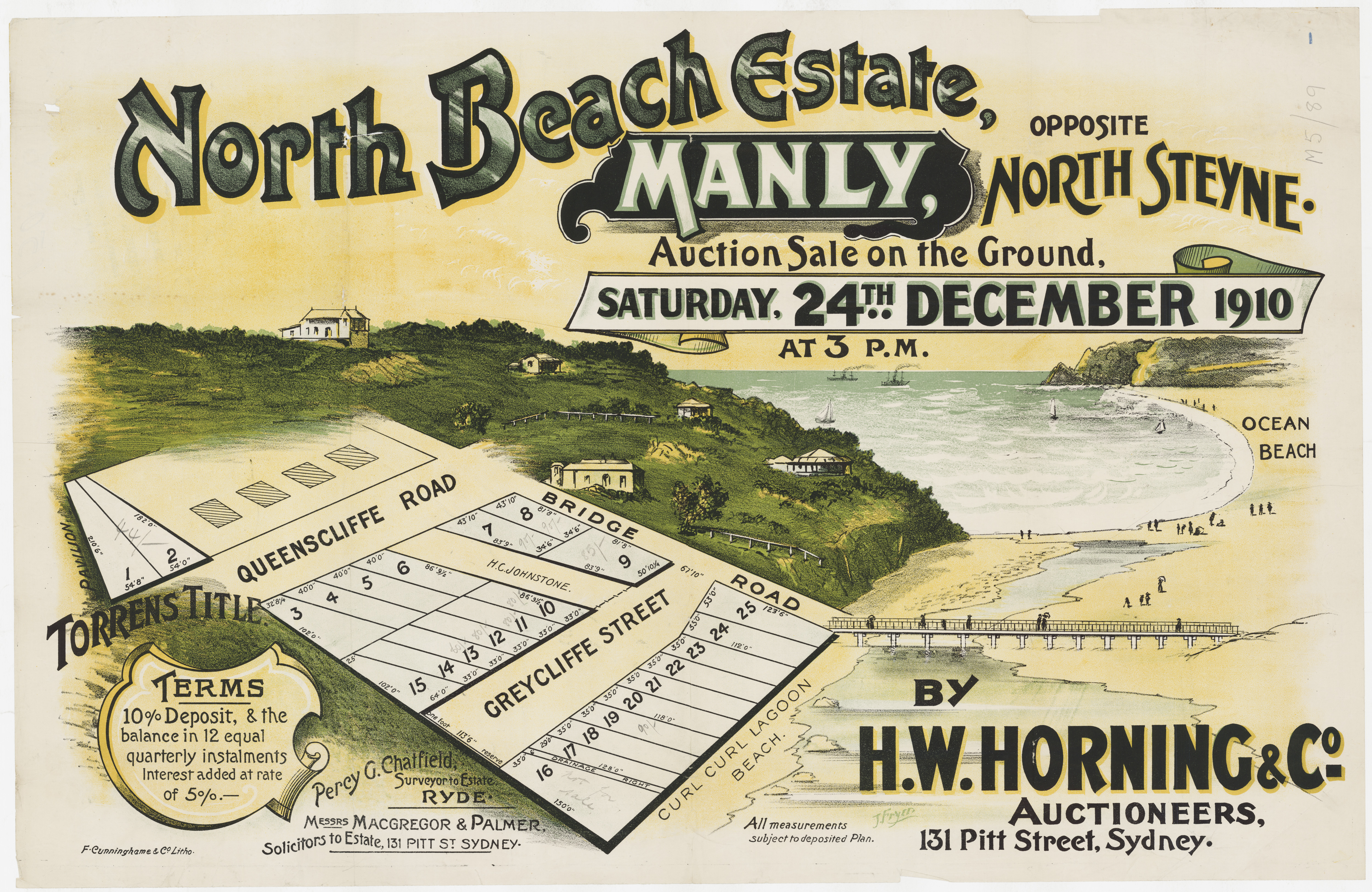 Subdivision Plan: 091 - SP/M5/89 - North Beach Estate Manly opposite North Steyne - Greycliffe St, Queenscliffe Rd, Bridge Rd, 1910