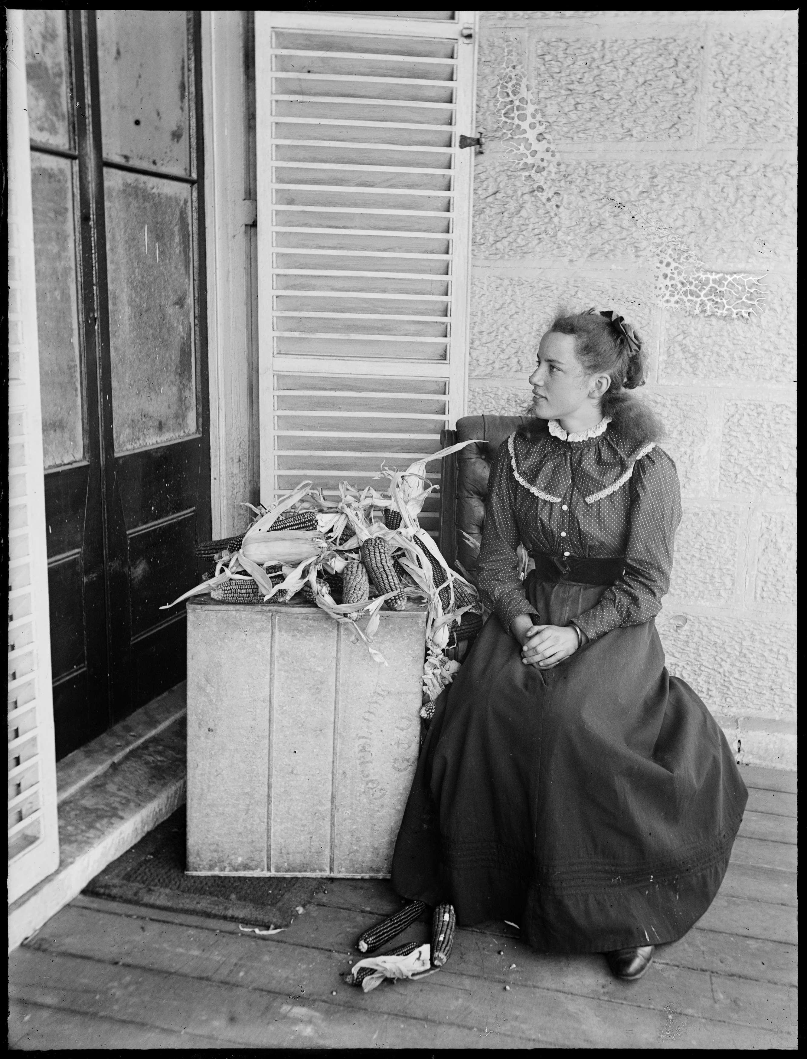 Young girl on the verandah at Hawthornden, Woollahra, poss. Effie Augusta Macpherson (1879-1905)