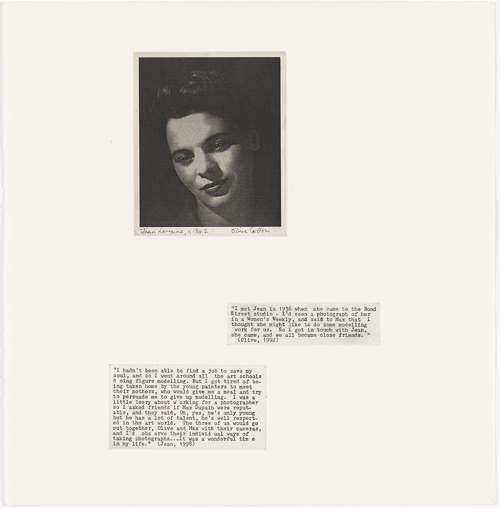 Jean Lorraine (Olive Cotton)  c. 1942  from Family Fragments 2004 solar plate photoJean Lorraine (Olive Cotton)  c. 1942  from Family Fragments 2004 solar plate photo etching, typescript text on Hahnemuhle pape etching, typescript text on Hahnemuhle paper