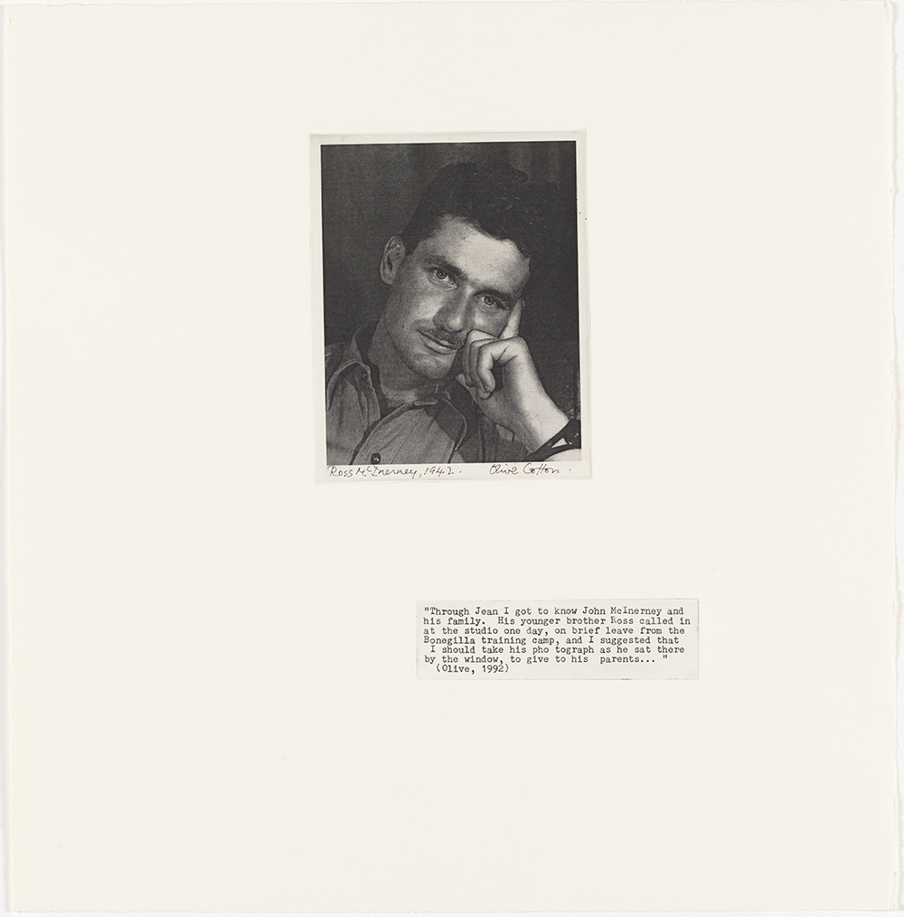 Ross McInerney (Olive Cotton), 1942 from Family Fragments 2004 solar plate photo etching, typescript text on Hahnemuhle paper