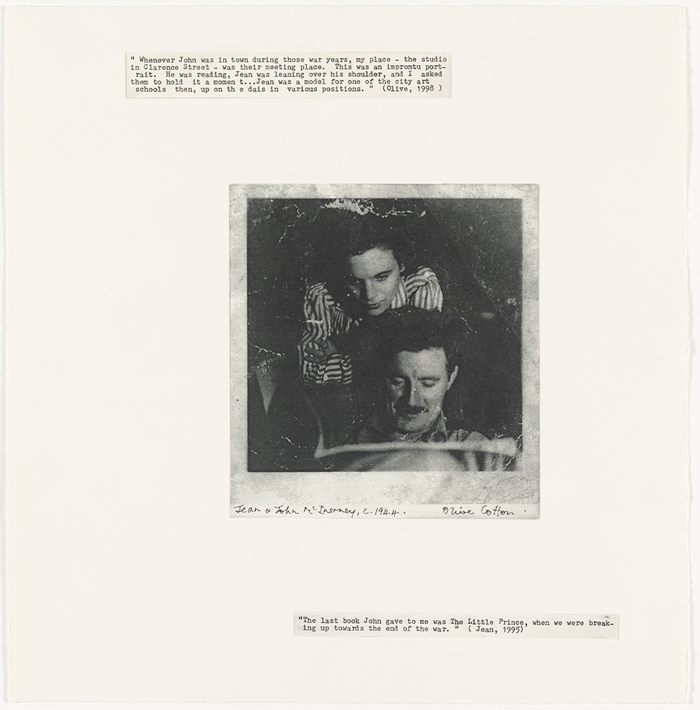 Jean and John McInerney (Olive Cotton),  c. 1944  from Family Fragments 2004 solar plate photo etching, typescript text on Hahnemuhle paper
