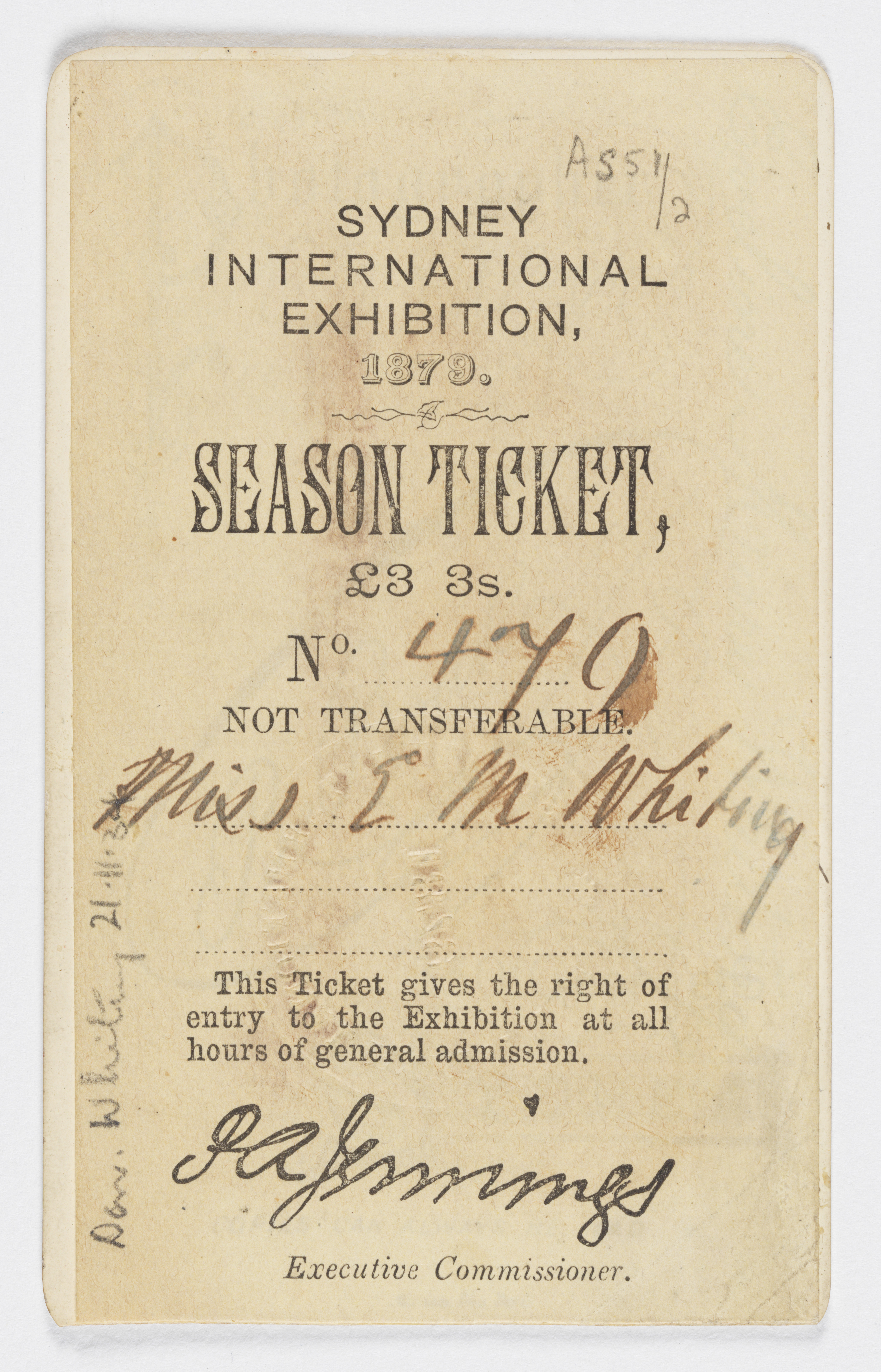 Season ticket issued to Eveline Mary Whiting for the International Exhibition