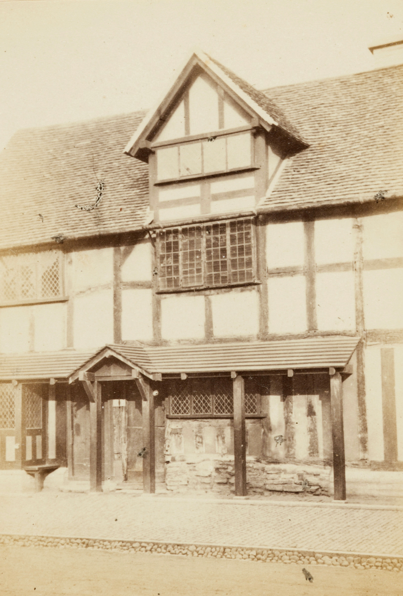 Shakespeare's house, showing the window of the room he was born in, Henley Street, Stratford On Avon, Ernest Edwards, 1863, from albumen print
