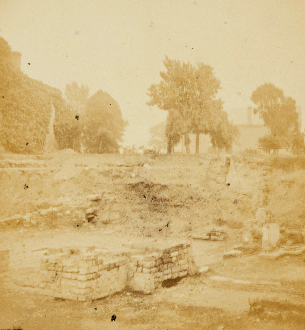 Ruins of Shakespeare's home, 'New Place', Stratford On Avon, Ernest Edwards, 1863, from albumen print