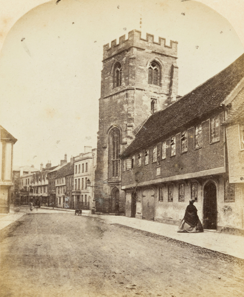 Grammar School and Tower of the Guild Chapel, Stratford On Avon, Ernest Edwards, 1863, from albumen print