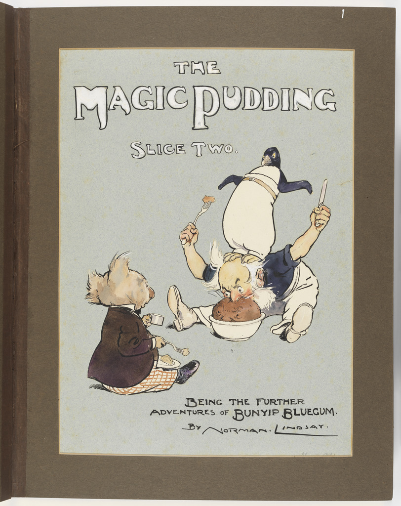 Colour illustration of The Magic Pudding, showing a Koala in a jacket, a bearded man with his face in a pudding basin and a penguin balancing on his back.