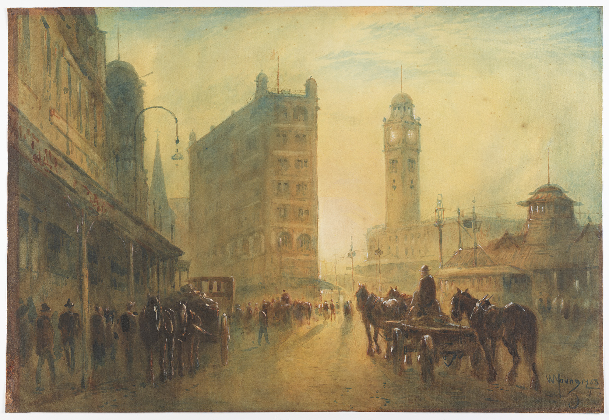 A watercolour painting of Railway Square - the clock tower can be seen in the morning light. A horse and carriage in the foreground.