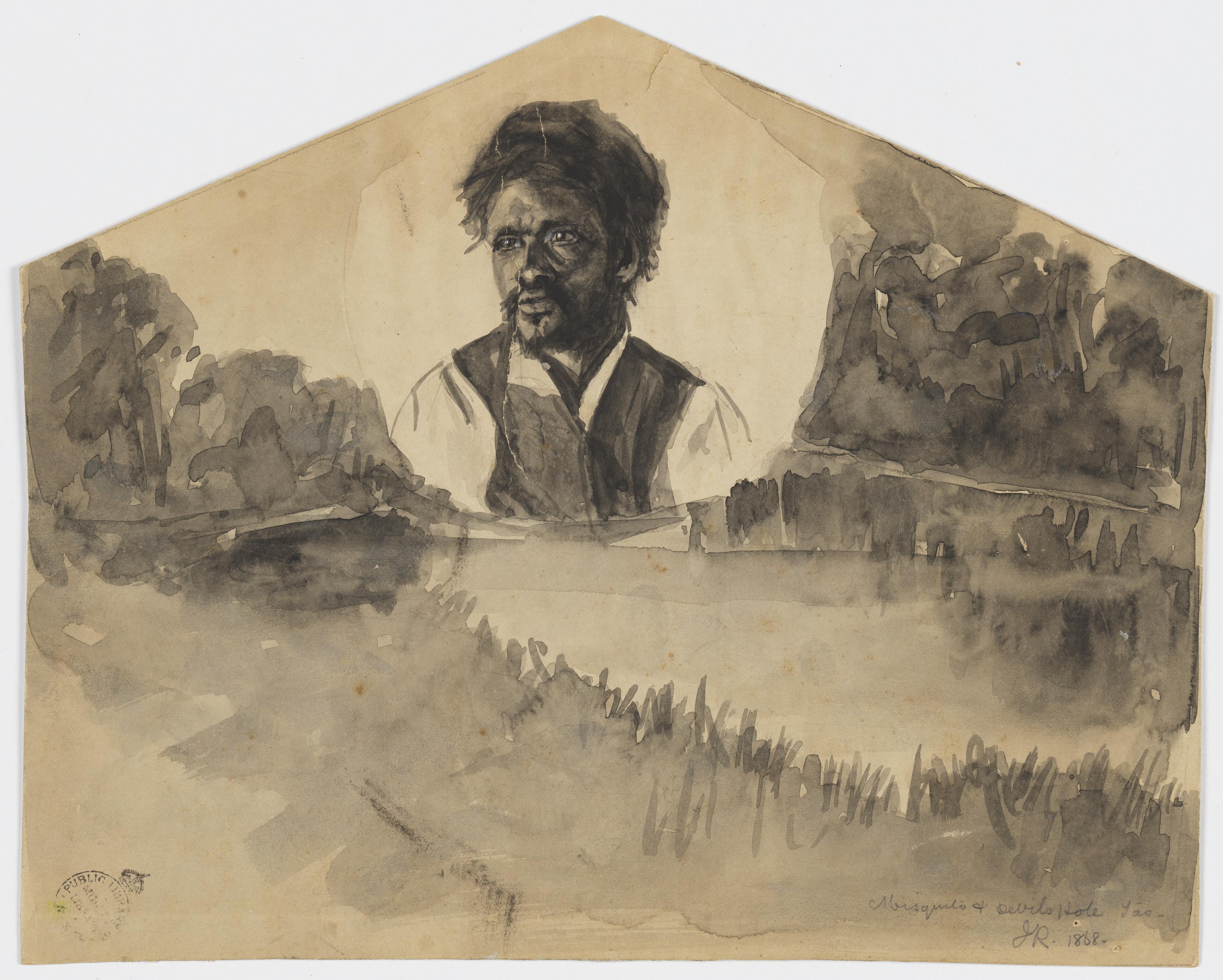 Misquito [i.e. Musquito] and Devil's Hole Tasmania, 1868 / J. R.