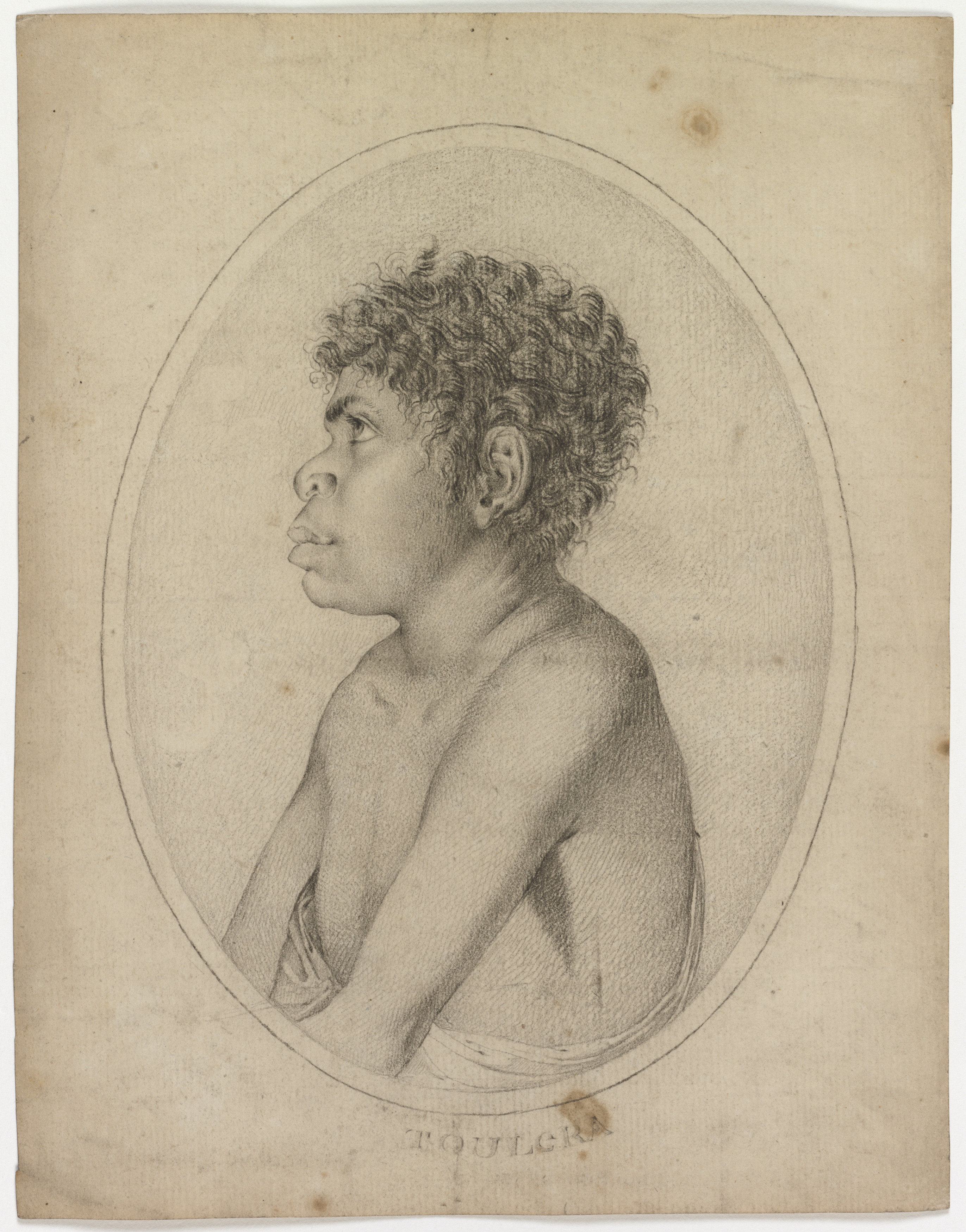 A black pencil or dark graphite sketch on brown paper of an Aboriginal boy.