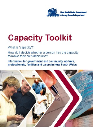 Cover for Capacity toolkit: information for government and community workers, professionals, families and carers in New South Wales
