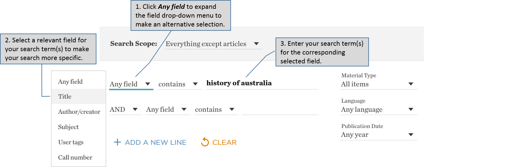 Catalogue advanced search – changing field selection
