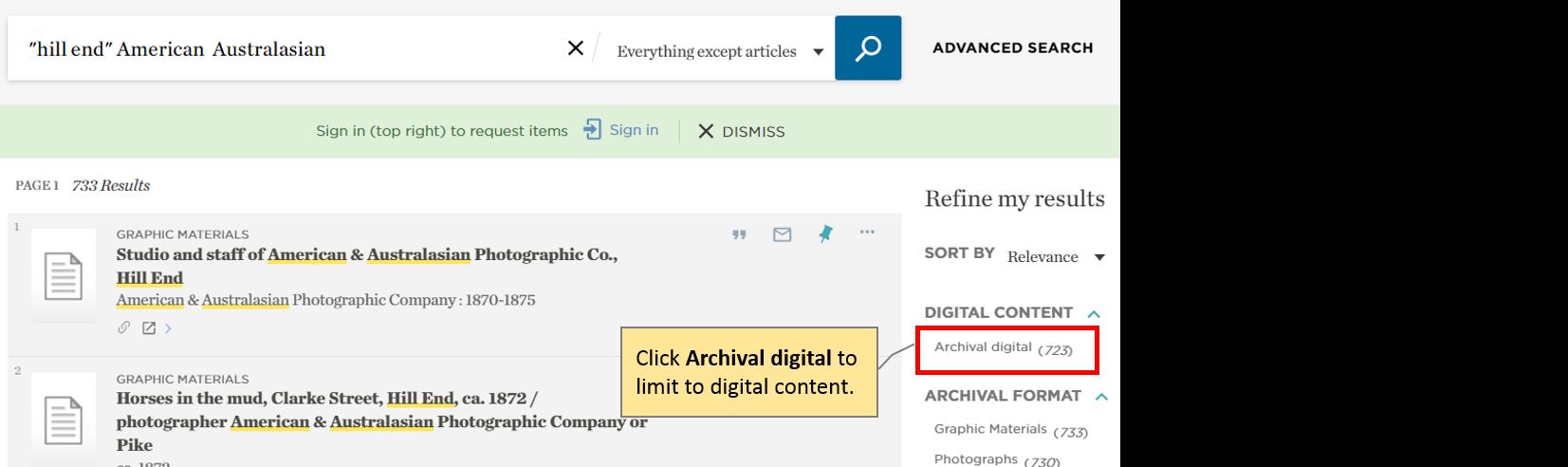 Catalogue – selecting Archival digital