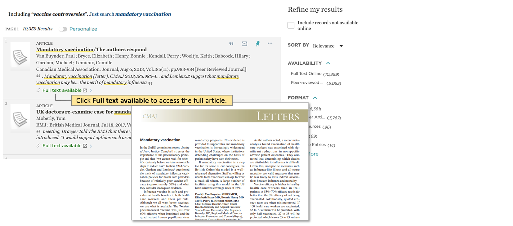 Catalogue – Article search