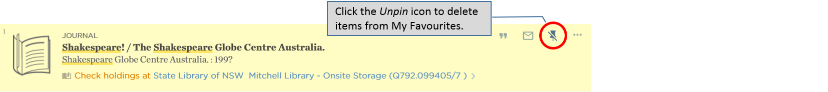 Catalogue – deleting items from My Favourites – unpin items