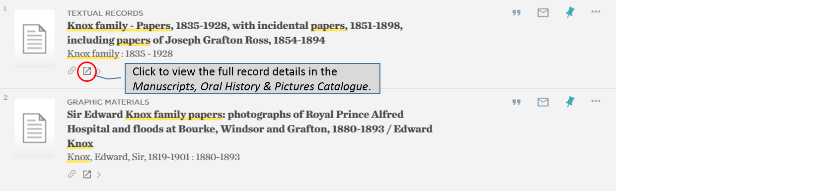 Catalogue – linking to full record in Manuscripts, Oral History & Pictures Catalogue
