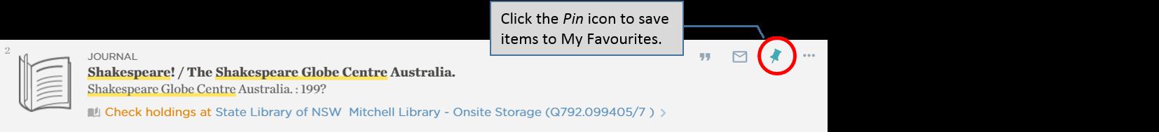 Catalogue – saving items to My Favourites – pin items