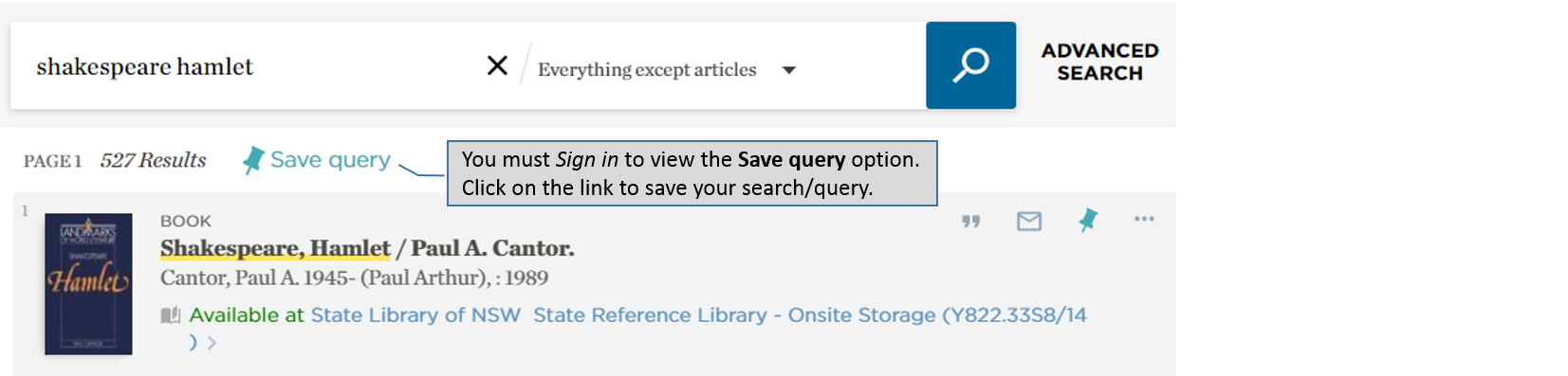 Catalogue – saving and viewing queries
