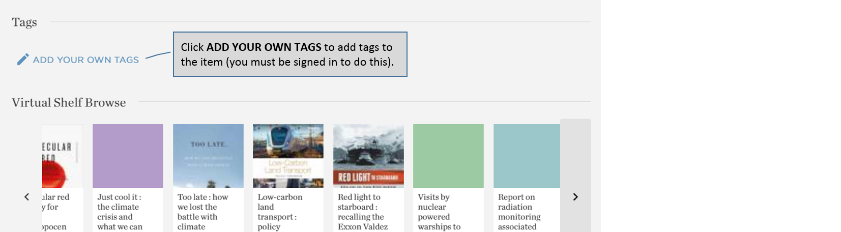 Catalogue – adding User Tags