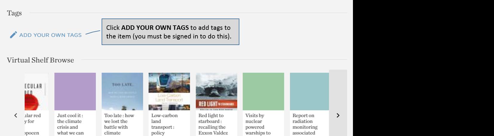 Catalogue – adding User Tags