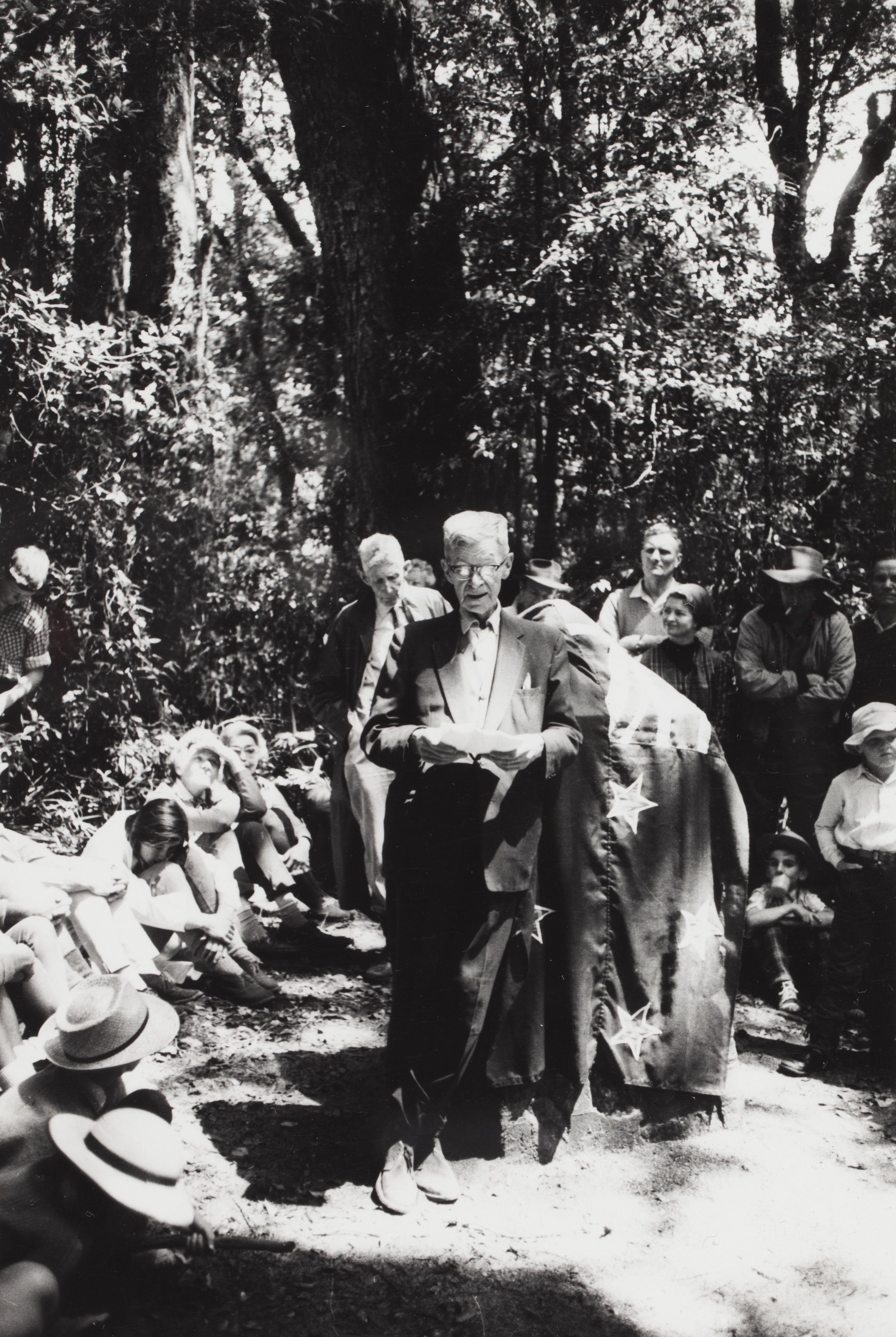 Chisholm unveiling a cairn at one of his favourite birdwatching locations: Mt Bithongabel in the Lamington National Park, November 1966