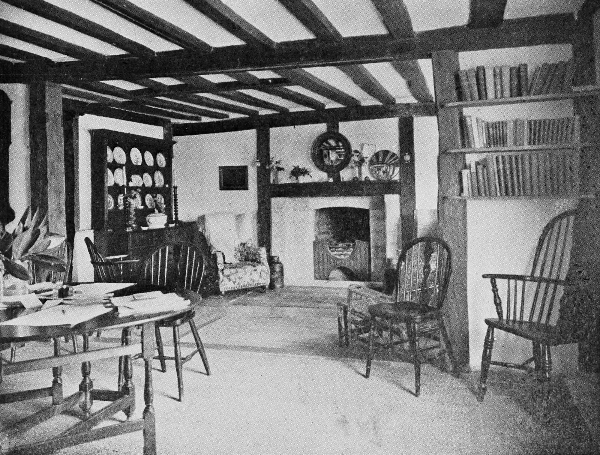 A living room showing timber ceiling beams