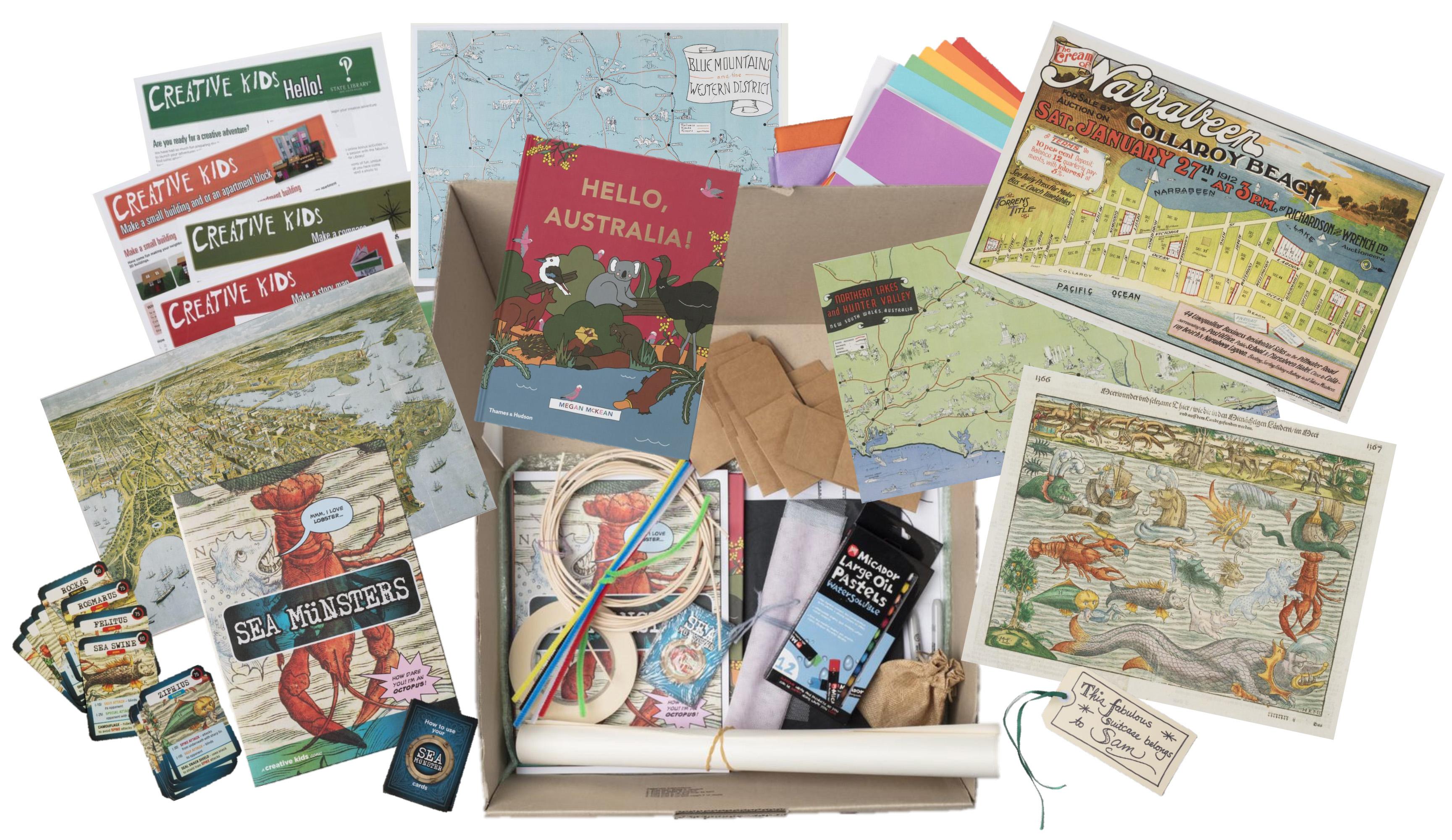 A box of creative materials for kids