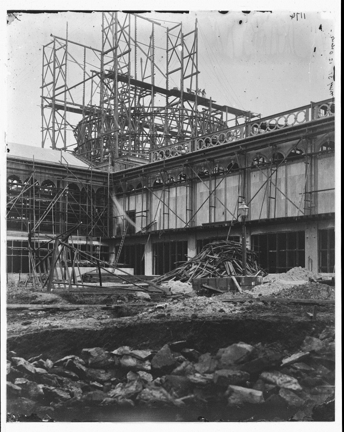 Dome of Garden Palace, Sydney, exterior during erection