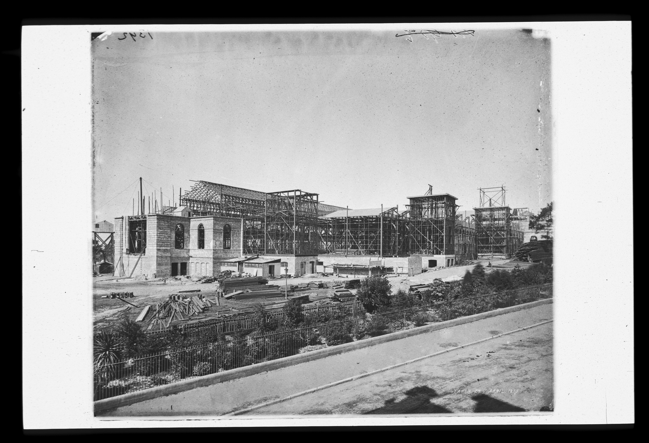 Garden Palace during erection - from Macquarie Street, Sydney