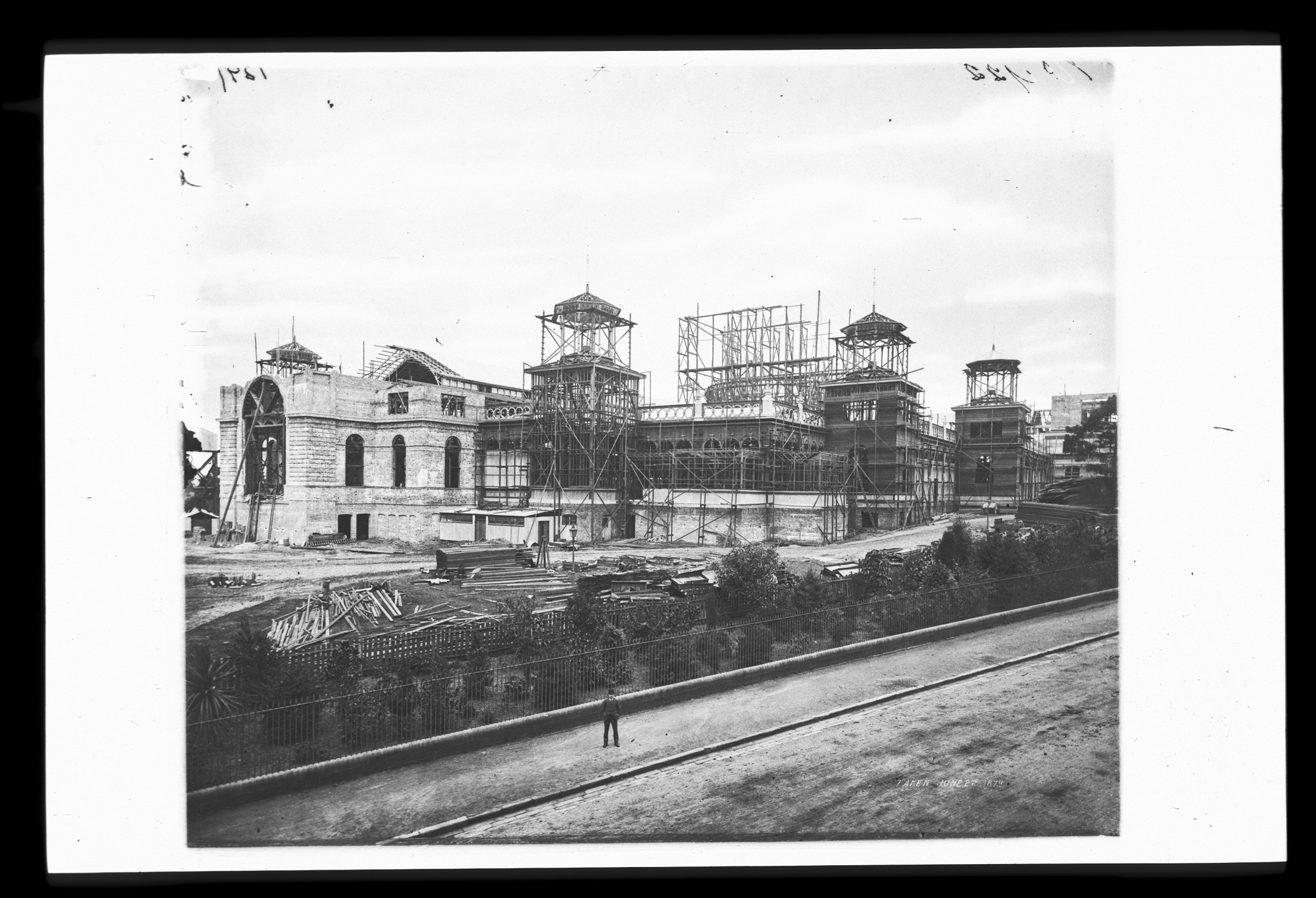 Garden Palace during construction, from Macquarie Street, 1879