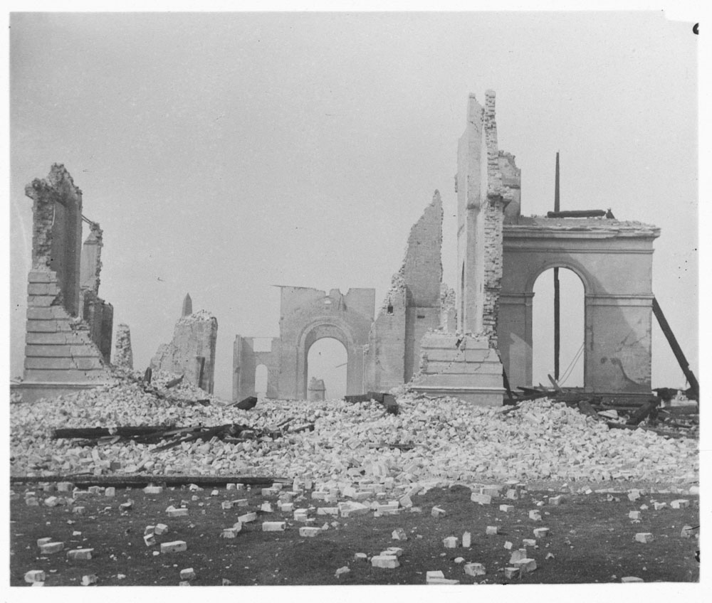 Garden Palace ruins after fire, taken from Garden Palace Grounds, 1882